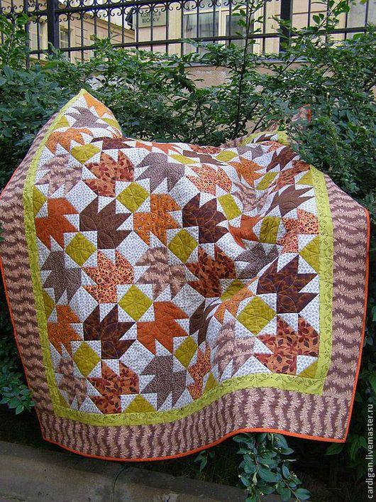 """Текстиль, ковры ручной работы. Ярмарка Мастеров - ручная работа. Купить """"Осенний остров"""", лоскутный комплект. Handmade. Рыжий, квилтинг"""