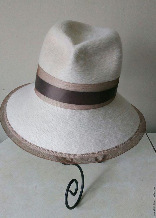 Шляпы ручной работы. Ярмарка Мастеров - ручная работа. Купить Белая шляпа с коричневой отделкой. Handmade. Белый, молочный, коричневый