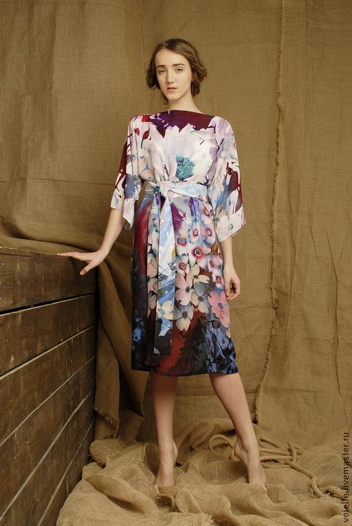 Платье летнее из штапеля, хлопок 100%, с цветочным принтом свободного покроя летнее в офис на жару в наличии