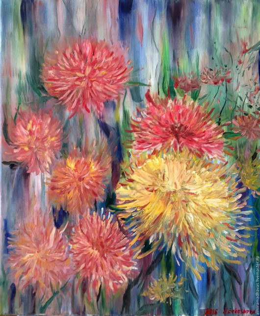 Картины цветов ручной работы. Ярмарка Мастеров - ручная работа. Купить Астры. Handmade. Комбинированный, гармония позитив радость