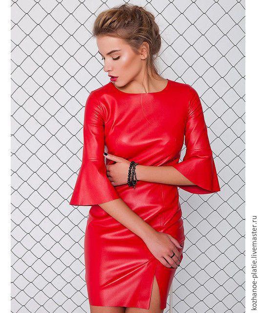 Платья ручной работы. Ярмарка Мастеров - ручная работа. Купить Кожаное платье красное (платье из натуральной кожи). Handmade.