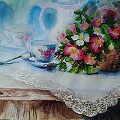 """Картины и панно ручной работы. Ярмарка Мастеров - ручная работа картина акварелью""""Шиповниковый бабушкин чай"""". Handmade."""