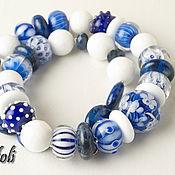 Украшения handmade. Livemaster - original item Blue-and-white short beads. Handmade.