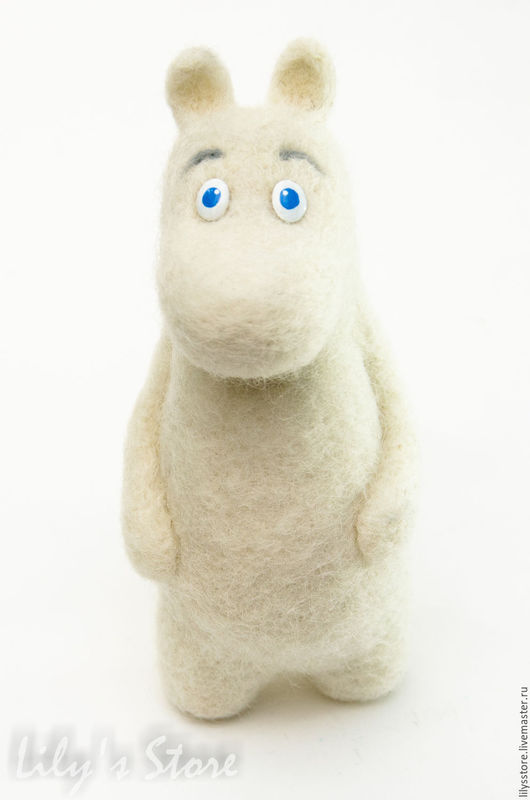 """Сказочные персонажи ручной работы. Ярмарка Мастеров - ручная работа. Купить Валяная игрушка из шерсти """"Муми-тролль"""". Handmade. Белый"""