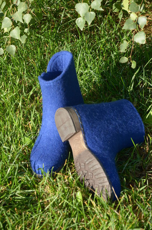Обувь ручной работы. Ярмарка Мастеров - ручная работа. Купить Ботильоны валяные женские Blue. Handmade. Тёмно-синий