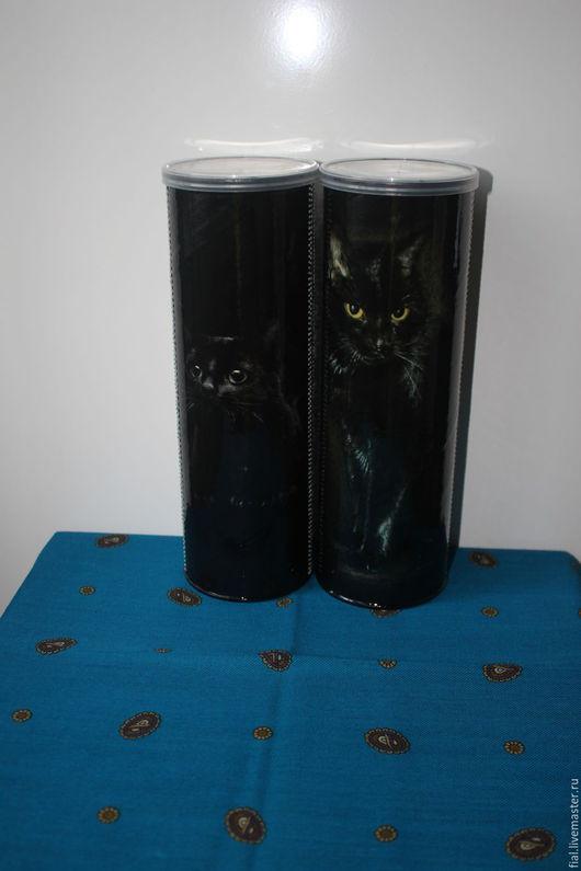 """Кухня ручной работы. Ярмарка Мастеров - ручная работа. Купить """"В чёрной-чёрной комнате"""" банки для сыпучих продуктов / корма кошек. Handmade."""