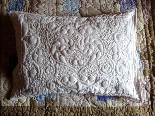 """Текстиль, ковры ручной работы. Ярмарка Мастеров - ручная работа. Купить Белая, стеганая наволочка """" Sweet Dream """". Handmade."""
