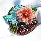 handmade. Livemaster - original item a basket of flowers. Brooch made of Japanese glass seed beads. Handmade.
