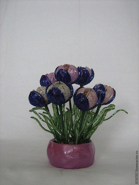 Цветы ручной работы. Ярмарка Мастеров - ручная работа. Купить Крокусы из бисера.. Handmade. Тёмно-фиолетовый, цветы ручной работы
