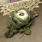 Украшения handmade. Livemaster - original item Evening Flower Fairy Forest. Brooch - flower is made of fabric and leather. Handmade.