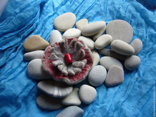 """Броши ручной работы. Ярмарка Мастеров - ручная работа. Купить Брошь """"Каменный цветок"""". Handmade. Серый, брошь ручной работы"""