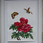 """Картины и панно ручной работы. Ярмарка Мастеров - ручная работа Картина """"Красный пион и бабочки"""". Handmade."""
