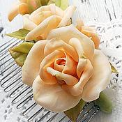 Украшения handmade. Livemaster - original item Comb with beige roses to buy. Handmade.