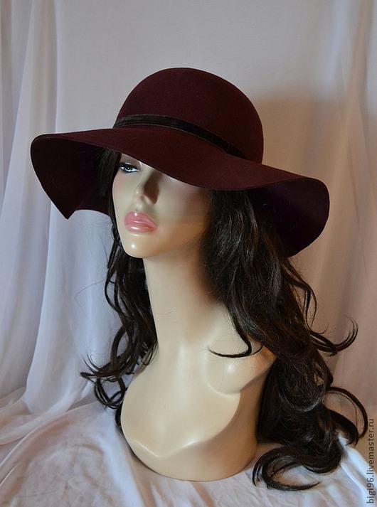 """Шляпы ручной работы. Ярмарка Мастеров - ручная работа. Купить Шляпа """"Незнакомка"""" темный бардо. Handmade. Бордовый, шляпа с полями"""
