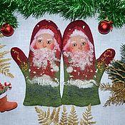 Аксессуары handmade. Livemaster - original item Copy of Copy of Felted mittens `Happy New Year!`. Handmade.