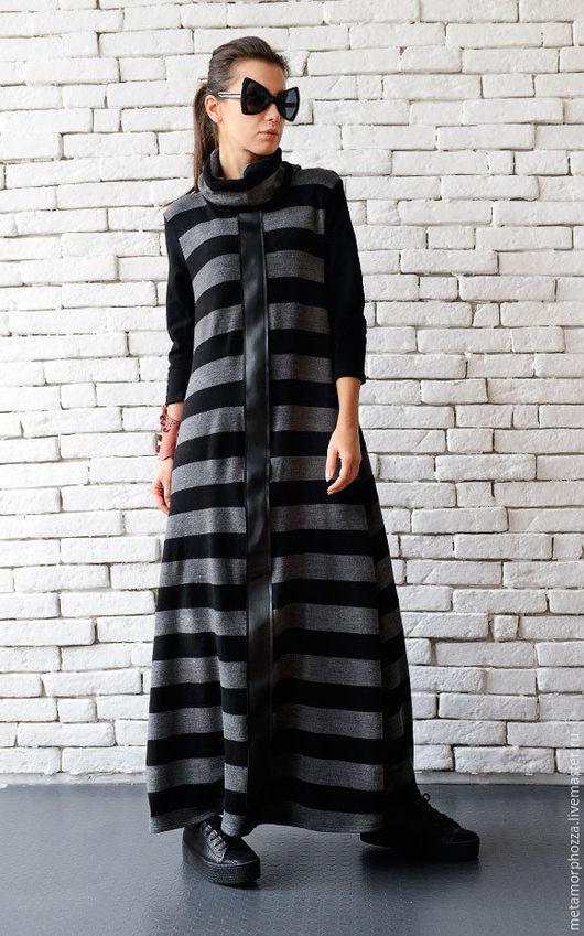 Платья ручной работы. Ярмарка Мастеров - ручная работа. Купить Платье в полоску, черное платье в пол. Handmade. В полоску
