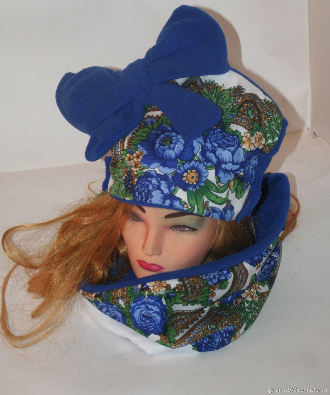 "Комплект ""Вау-детка"" шапка с бантом+шарф-снуд на флисе, , Минусинск,  Фото №1"