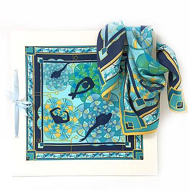 Аксессуары ручной работы. Ярмарка Мастеров - ручная работа Платок Балет Голубой. Шелк. 65 см. Handmade.