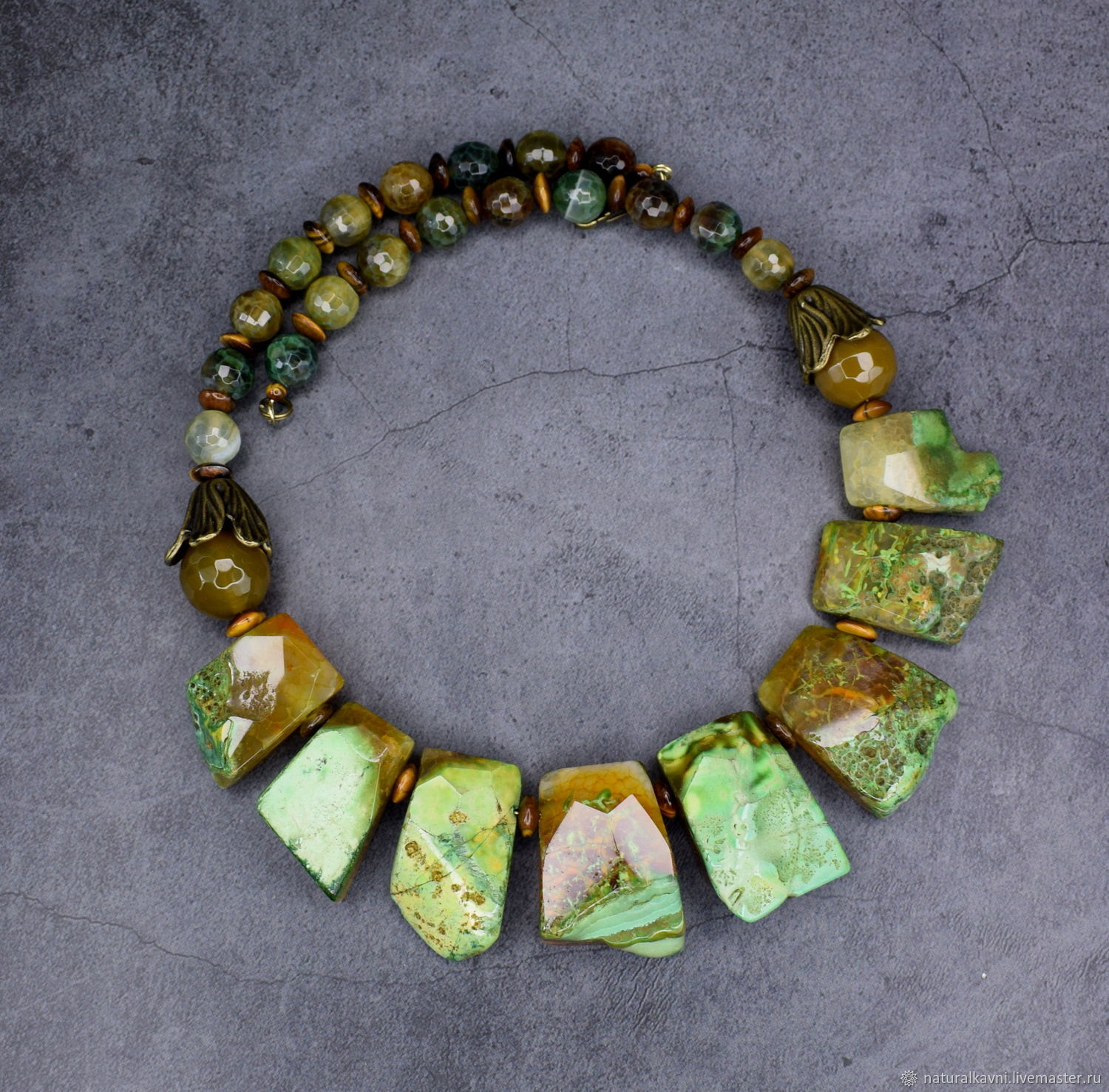 Author's necklace natural agate and tiger's eye, Necklace, Moscow,  Фото №1