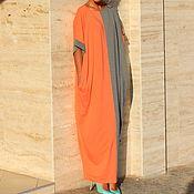 Одежда ручной работы. Ярмарка Мастеров - ручная работа Серо-оранжевое длинное макси платье, кафтан, абайя, ручная работа. Handmade.
