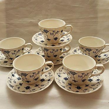 Винтаж ручной работы. Ярмарка Мастеров - ручная работа CHURCHILL. Чайные пары на 6 персон.. Handmade.