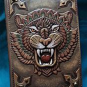 "Канцелярские товары handmade. Livemaster - original item Leather notebook ""INVINCIBLE TIGER"". Handmade."
