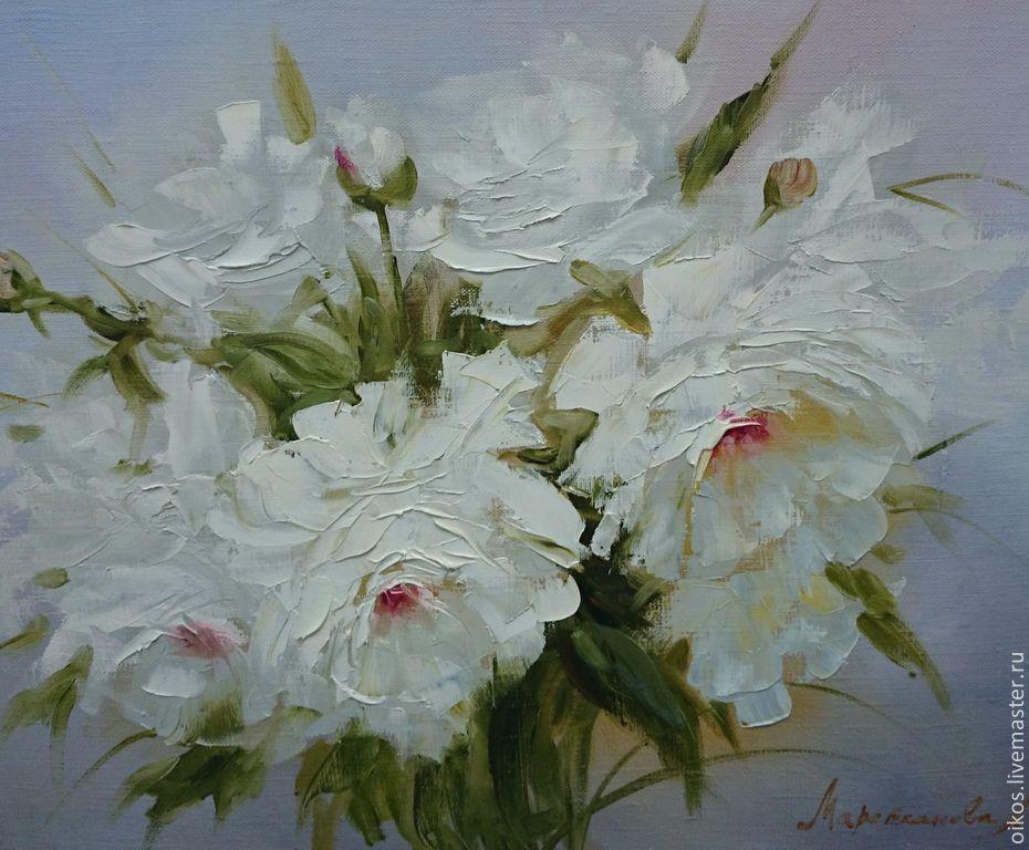 Flower Painting Handmade. Livemaster   Handmade. Buy White Peonies   Oil  Painting.White