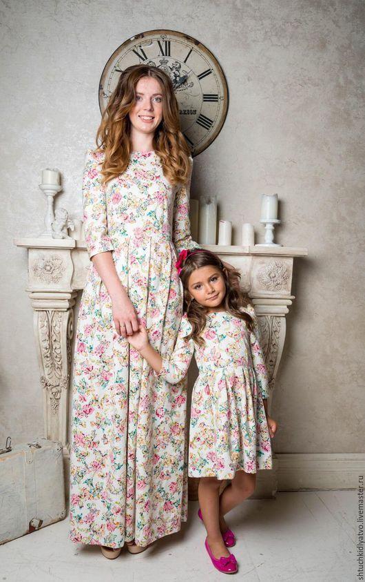 """Одежда для девочек, ручной работы. Ярмарка Мастеров - ручная работа. Купить Жаккардовые платья фэмили """"Цветочки"""". Handmade. Разноцветный, фэмилилук"""