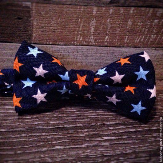 Галстуки, бабочки ручной работы. Ярмарка Мастеров - ручная работа. Купить Галстук-бабочка звезды. Handmade. Тёмно-синий