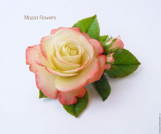 """Заколки ручной работы. Ярмарка Мастеров - ручная работа. Купить Зажим с розой """"Gloria Day"""".. Handmade. Комбинированный"""