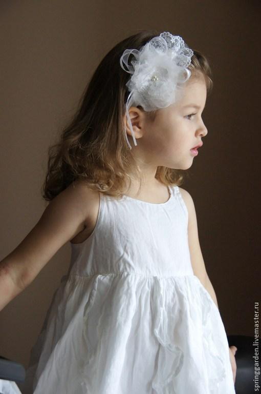 Детская бижутерия ручной работы. Ярмарка Мастеров - ручная работа. Купить Повязка на голову БЕЛАЯ НЕЖНОСТЬ для девочки. Handmade.