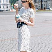 Платья ручной работы. Ярмарка Мастеров - ручная работа Белое платье футляр ниже колена в полоску, летнее платье в офис. Handmade.