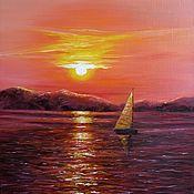 Картины и панно ручной работы. Ярмарка Мастеров - ручная работа Закат на море. Handmade.