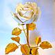 Цветы ручной работы. Ярмарка Мастеров - ручная работа. Купить Золотая роза. Handmade. Белый, белая роза