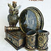 Часы классические ручной работы. Ярмарка Мастеров - ручная работа Часы настольные с органайзером в стиле стимпанк. Handmade.