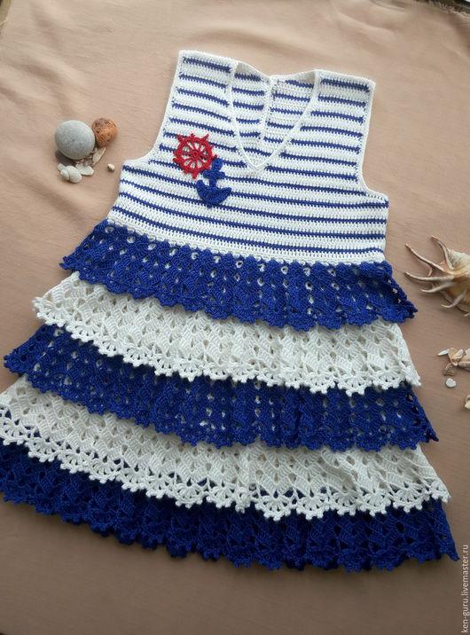 """Одежда для девочек, ручной работы. Ярмарка Мастеров - ручная работа. Купить Платье для девочки """"Морячка"""". Handmade. Платье на малышку, хлопок"""