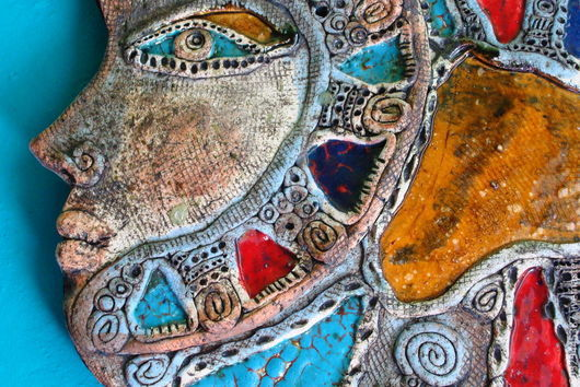 Фантазийные сюжеты ручной работы. Ярмарка Мастеров - ручная работа. Купить Она как яркая рыбка. Handmade. Бирюзовый, глина белая