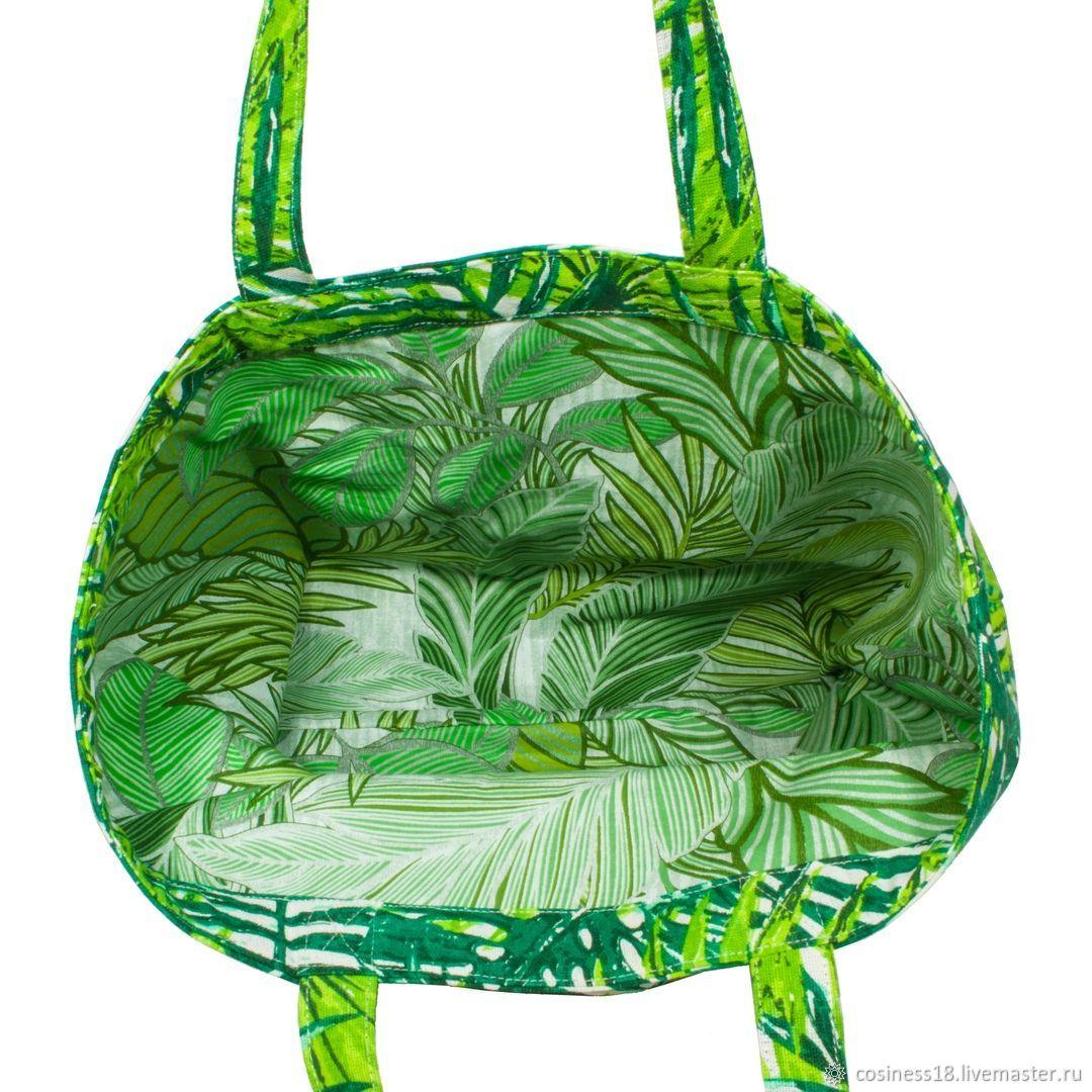 Льняная сумка. Тропики