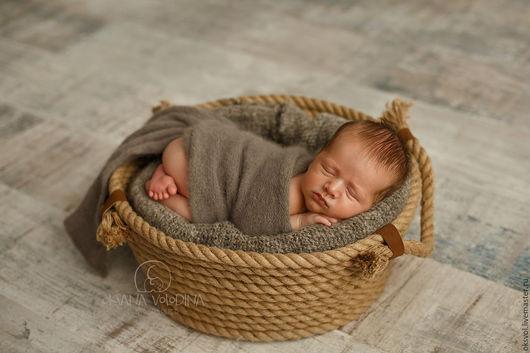 Для новорожденных, ручной работы. Ярмарка Мастеров - ручная работа. Купить Корзина канатная  для съемки новорожденных / реквизит. Handmade.