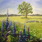 Люпины и Дуб Пейзаж картина холст масло 55на55см
