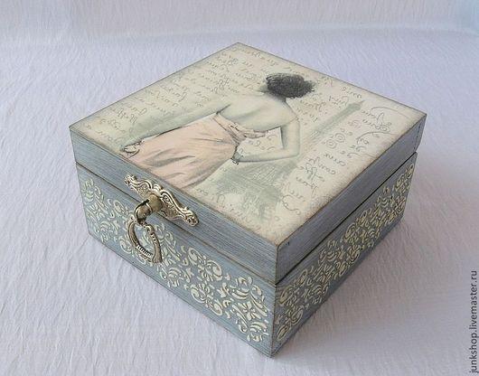 """Шкатулки ручной работы. Ярмарка Мастеров - ручная работа. Купить Шкатулка """"Парижанка"""". Handmade. Серый, шкатулка для мелочей, подарок женщине"""