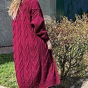 Одежда handmade. Livemaster - original item Knitted coat of dark cherry color. Handmade.
