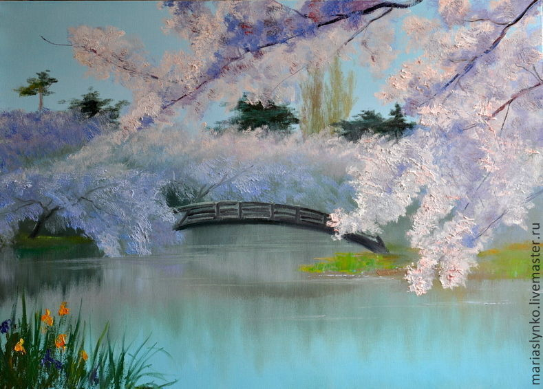 Oil painting. Spring. the cherry blossoms.