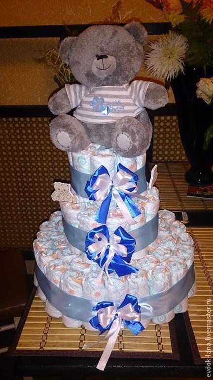 Подарки для новорожденных, ручной работы. Ярмарка Мастеров - ручная работа. Купить тортики из памперсов. Handmade. Голубой, оригинальный подарок