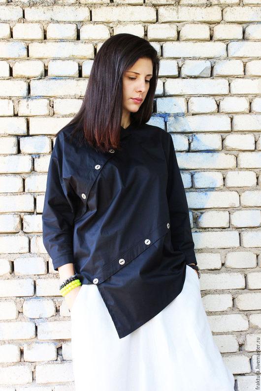 Блузки ручной работы. Ярмарка Мастеров - ручная работа. Купить Асимметричная рубашка - Черная B0002. Handmade. Черный, экстравагантная рубашка