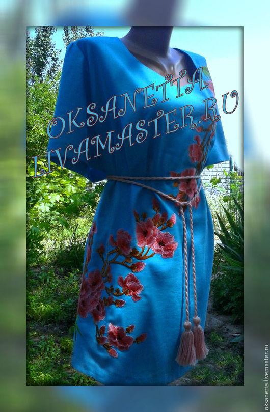 """Платья ручной работы. Ярмарка Мастеров - ручная работа. Купить Туника вышитая """"Сакура"""". Handmade. Вышиванка, вышитое платье"""