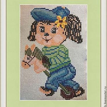 """Картины и панно ручной работы. Ярмарка Мастеров - ручная работа Картина """"На коне"""" вышитая крестиком для детской комнаты. Handmade."""