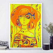 Картины и панно handmade. Livemaster - original item Stylized portrait Orange sea. Oil painting. Handmade.