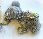 Работы для детей, ручной работы. Ярмарка Мастеров - ручная работа Шапочка + пинетки Карапуз. Handmade.