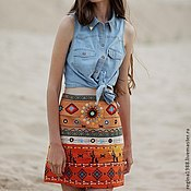 """Одежда ручной работы. Ярмарка Мастеров - ручная работа юбка """"Этнический микс"""". Handmade."""